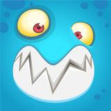 Cartoon monster face  . Vector Halloween blue happy monster square avatar. Royalty Free Stock Photos
