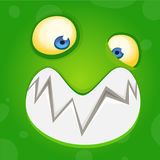 Cartoon monster face. Vector Halloween green happy cool monster avatar. Party mask. Stock Photo