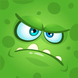 Cartoon monster face. Vector Halloween green mad angry monster. Royalty Free Stock Images