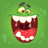 Cartoon monster face. Vector Halloween green monster avatar. Royalty Free Stock Photography