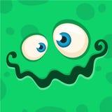 Cartoon monster face. Vector Halloween green monster avatar. royalty free stock photography