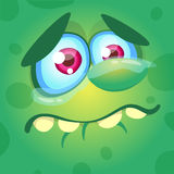 Cartoon monster face. Vector Halloween green sad monster crying. stock illustration