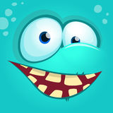 Cartoon monster face  . Vector Halloween happy monster square avatar. Funny monster mask Royalty Free Stock Images