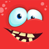Cartoon monster face  . Vector Halloween happy monster square avatar. Funny monster mask Royalty Free Stock Photography