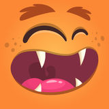 Cartoon monster face. Vector Halloween orange cool monster avatar with wide smile. Royalty Free Stock Photography