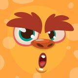 Cartoon monster face. Vector Halloween orange monster avatar stock illustration