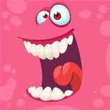 Cartoon monster face  . Vector Halloween pink happy monster square avatar. Funny monster mask. Stock Images