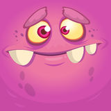Cartoon monster face. Vector Halloween pink monster avatar Stock Photo