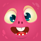 Cartoon monster face. Vector Halloween pink monster avatar. Royalty Free Stock Photography