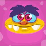 Cartoon monster face. Vector Halloween pink monster avatar. Stock Photos