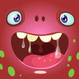 Cartoon monster face. Vector Halloween red monster avatar with wide smile. Royalty Free Stock Photo