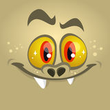Cartoon monster face. Vector Halloween red monster avatar with wide smile.  Stock Photos