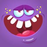 Cartoon monster face. Vector Halloween violet monster avatar. Cartoon monster face. Vector Halloween violet monster avatar royalty free illustration