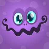 Cartoon monster face. Vector Halloween violet monster avatar Stock Images