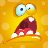 Cartoon monster face. Vector Halloween yellow screaming monster avatar. Stock Photography