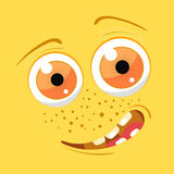 Cartoon monster face. Vector Halloween yellow smiling fairy tale avatar. Vector illustration Royalty Free Stock Photos