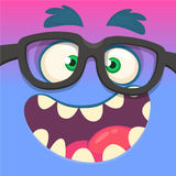 Cartoon monster face wearing eyeglasses. Vector Halloween funny blue and pink nerdy monster square avatar. Cartoon monster face wearing eyeglasses. Vector royalty free illustration