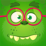 Cartoon monster face wearing eyeglasses. Vector Halloween funny green smart monster square avatar. Cartoon monster face wearing eyeglasses. Vector Halloween vector illustration
