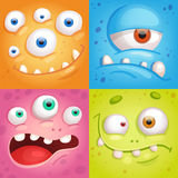 Cartoon monster faces. Set of Cartoon monster faces with different emotions vector illustration