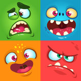 Cartoon monster faces set. Vector set of four Halloween monster faces. stock illustration