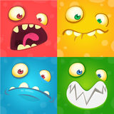 Cartoon monster faces set. Vector set of four Halloween monster faces Royalty Free Stock Image