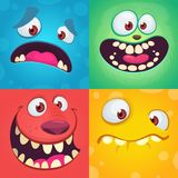 Cartoon monster faces set. Vector set of four Halloween monster faces with different expressions. Children book illustrations. Or party decorations Royalty Free Stock Photos