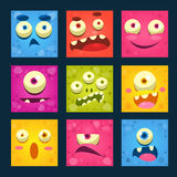 Cartoon Monster Faces Vector Set. Stock Photos