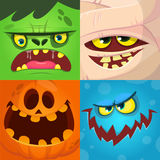Cartoon monster faces vector set. Cute square avatars and icons. Monster, pumpkin face, mummy, zombie. stock photo