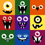 Cartoon monster faces vector set. Cute square. Cartoon monster faces vector set. Smiles and eyes. Cute square avatars and icons Stock Image