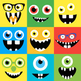 Cartoon monster faces vector set. Cute square. Cartoon monster faces vector set. Smiles, eyes, eyeglasses. Cute square avatars and icons Royalty Free Stock Photography