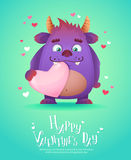 Cartoon monster with a heart Valentine card Stock Images
