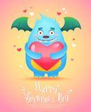 Cartoon monster with a heart Valentine card Stock Photo