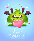 Cartoon monster with a heart Valentine card Royalty Free Stock Photography