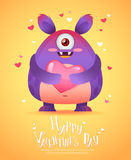 Cartoon monster with a heart Valentine card Stock Photos