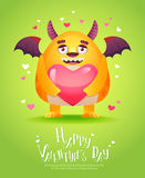 Cartoon monster with a heart Valentine card Stock Photography