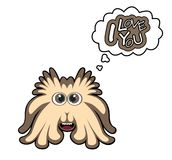 Cartoon monster with I love you text Royalty Free Stock Image