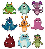 Cartoon monster icon set. Drawing Stock Photos