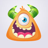 Cartoon monster icon. Yellow monster cyclops head smiling. Vector illustration.  Royalty Free Stock Image