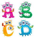 Cartoon monster letters from A to D Stock Photo