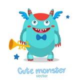 Cartoon Monster Mascot. Monsters University. Gold Loud Pipe. Musician Pipe Monster. Royalty Free Stock Photo