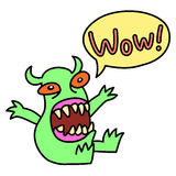 Cartoon monster screaming Wow. Speech bubble. Vector illustration. Royalty Free Stock Photography