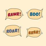 Cartoon monster sound speech bubbles. Royalty Free Stock Photo