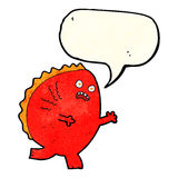 cartoon monster with speech bubble Royalty Free Stock Image