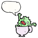Cartoon monster in teacup Royalty Free Stock Images