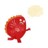 cartoon monster with thought bubble Stock Image