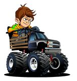Cartoon Monster Truck with driver Royalty Free Stock Images