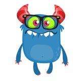 Cartoon monster wearing glasses. Vector illustration for Halloween. Design for party decoration, sticker print vector illustration
