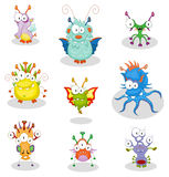 Cartoon monsters. The collection of nine cartoon monsters for Halloween or other events Royalty Free Stock Image