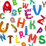 Cartoon monsters alphabet seamless pattern Royalty Free Stock Photography