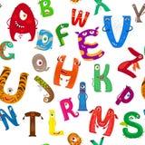 Cartoon monsters alphabet seamless pattern. Cartoon colorful monsters alphabet seamless pattern. Vector illustration Royalty Free Stock Photography